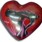 Carved Soapstone heart with Acacia Tree