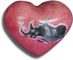 Carved Soapstone heart with Rhino