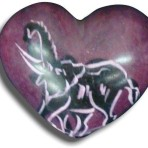 Carved Soapstone heart with Elephant