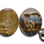 Ostrich egg with African Elephants and Map